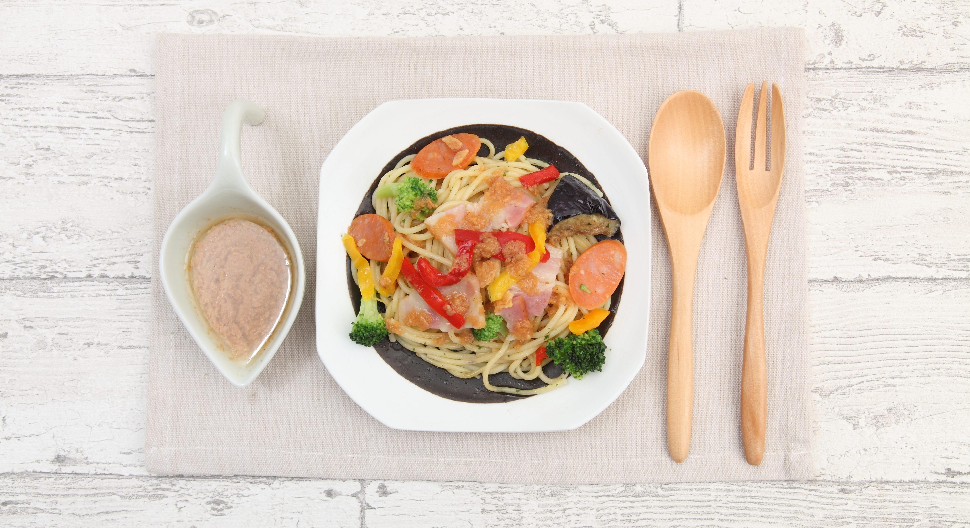 パスタ料理とオニオンソース クッキングプラン画像